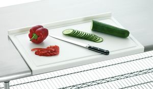 Cutting board PE, stop-edge, white